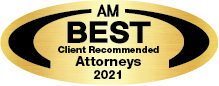 "Black and gold emblem that reads ""AM Best Client Recommended Attourneys 2021"""